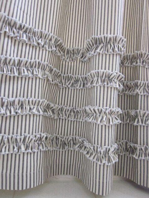Vintage Ticking Stripe Shower Curtain With By ModernFolkShop 9800