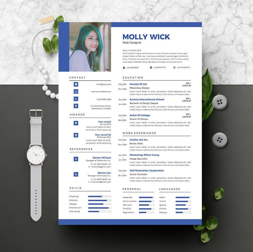 Modern Resume Instant Download 2 Pages CV template