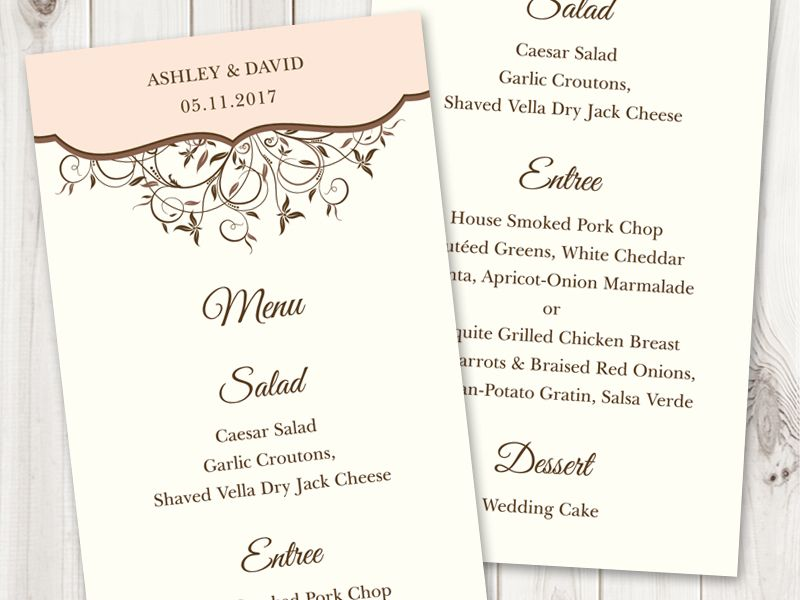 Printable Menu Template  - menu template for word