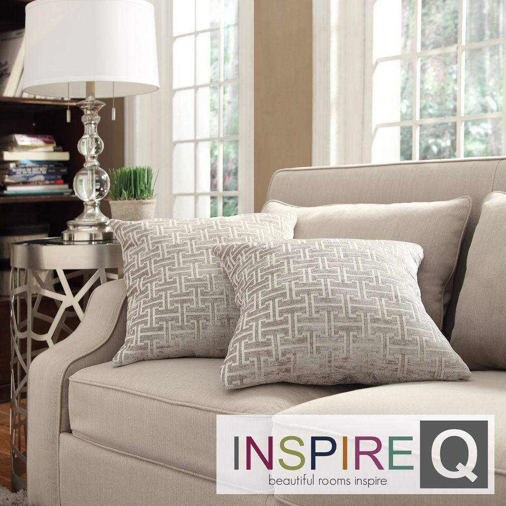 Kayla Grey Bracket Chain 18-inch Square Throw Pillows (Set of 2) |