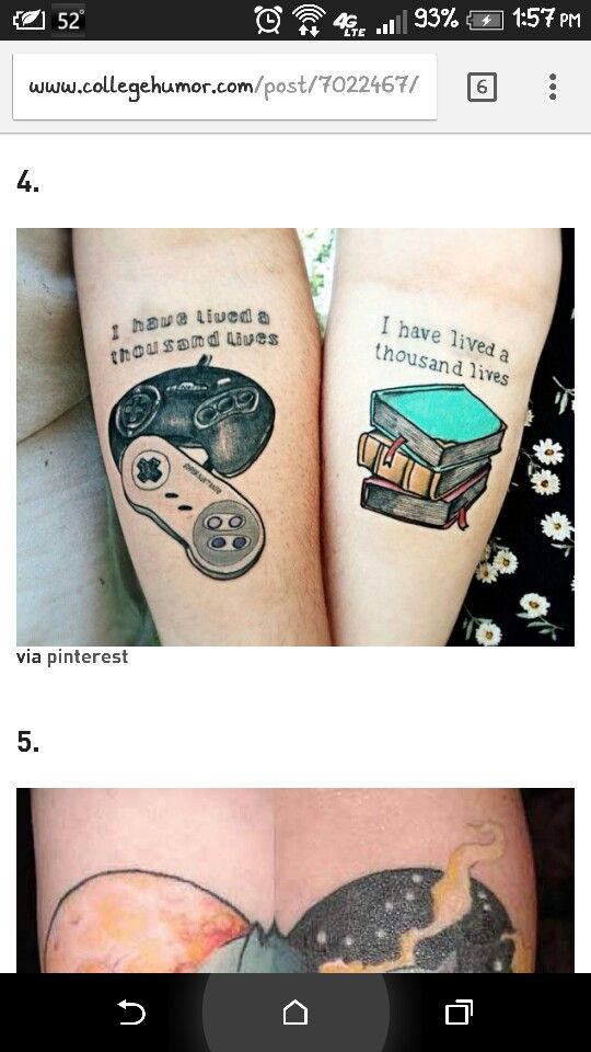 This Tattoo Is Incredible Couples Nerdy Gamer Tattoo Matching Books