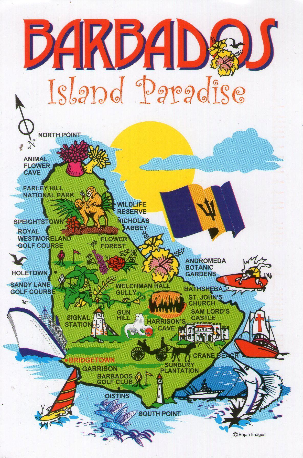 Barbados Map Postcard Via Swap Bot Postcard Exchange - Southern caribbean map