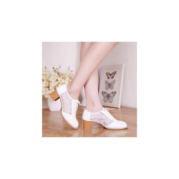 Lace Oxford Pumps Beige - 38 ($31) ❤ liked on Polyvore featuring shoes, pumps, footware, beige oxfords, lace oxford shoes, lacy shoes, beige shoes and beige pumps