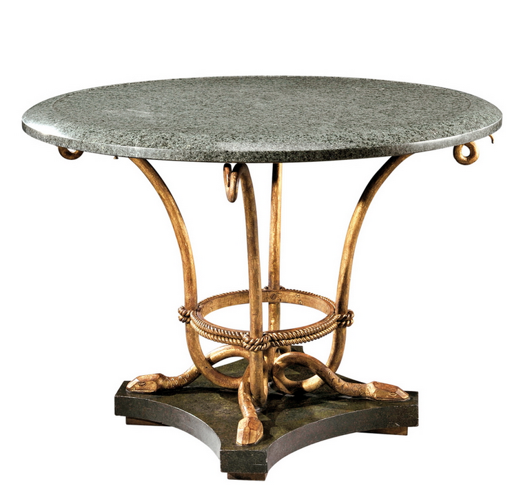 MARCEL-CHARLES COARD circular pedestal table, gilt wrought iron, the legs in the form of serpents, green marble top, standing on a quadrangular wood base in a faux marble finish. Signed «M.C COARD» and stamped with the parrot trademark . Circa 1940. 30 in.