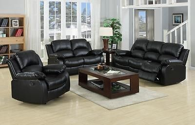 Harvey Large 3 2 Seater Bonded Leather Recliner Sofas Black Or Brown