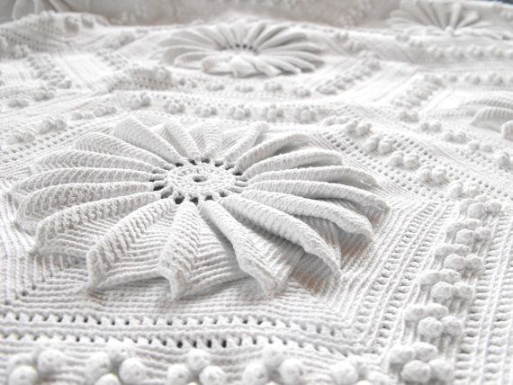 Fabulous Hand-crocheted French Vintage Coverlet...gorgeous!