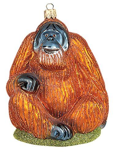 Orangutan Monkey Polish Mouth Blown Glass Christmas Ornament Tree - polish christmas decorations