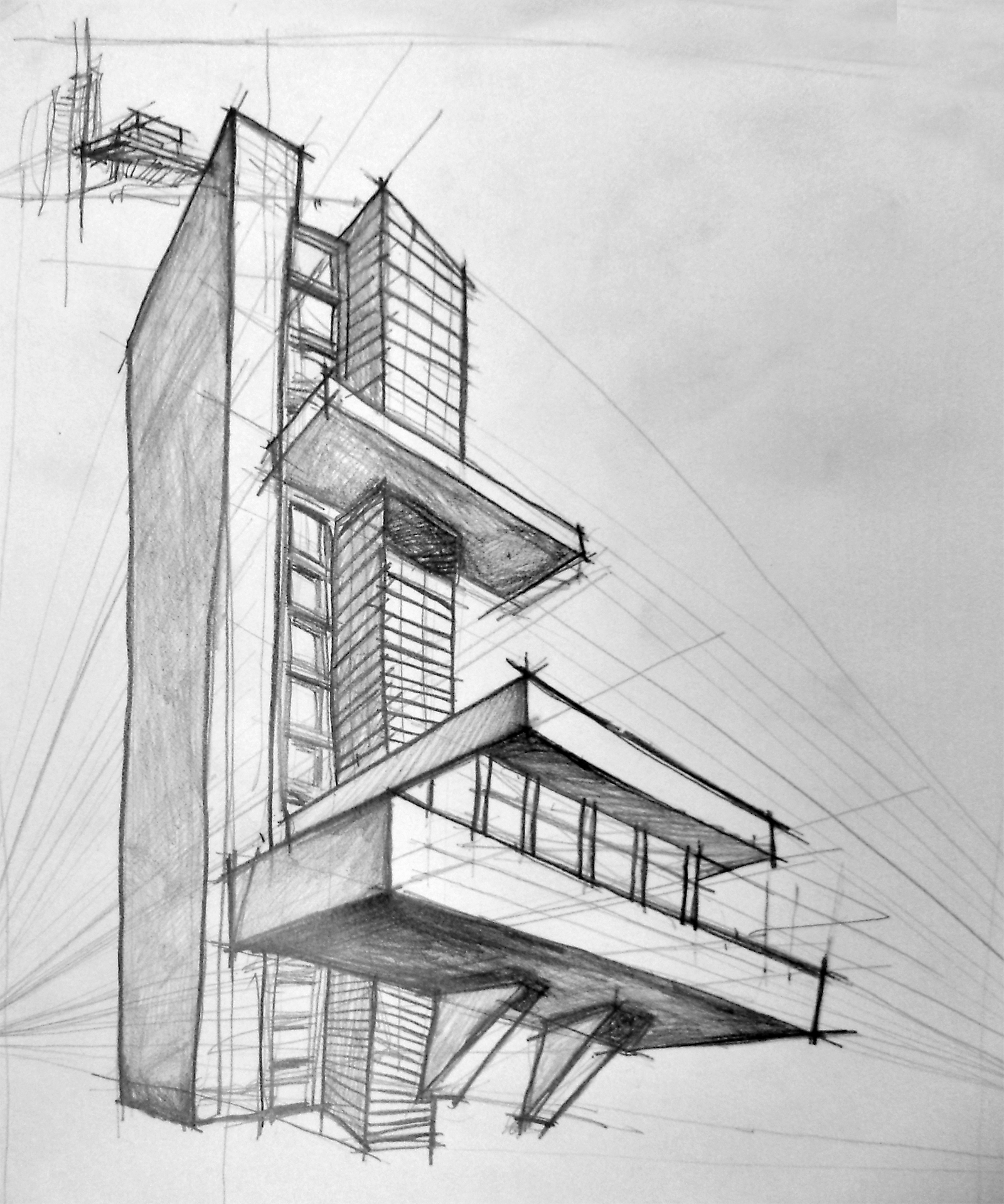 Pencil Sketch Of A Architect House G 1