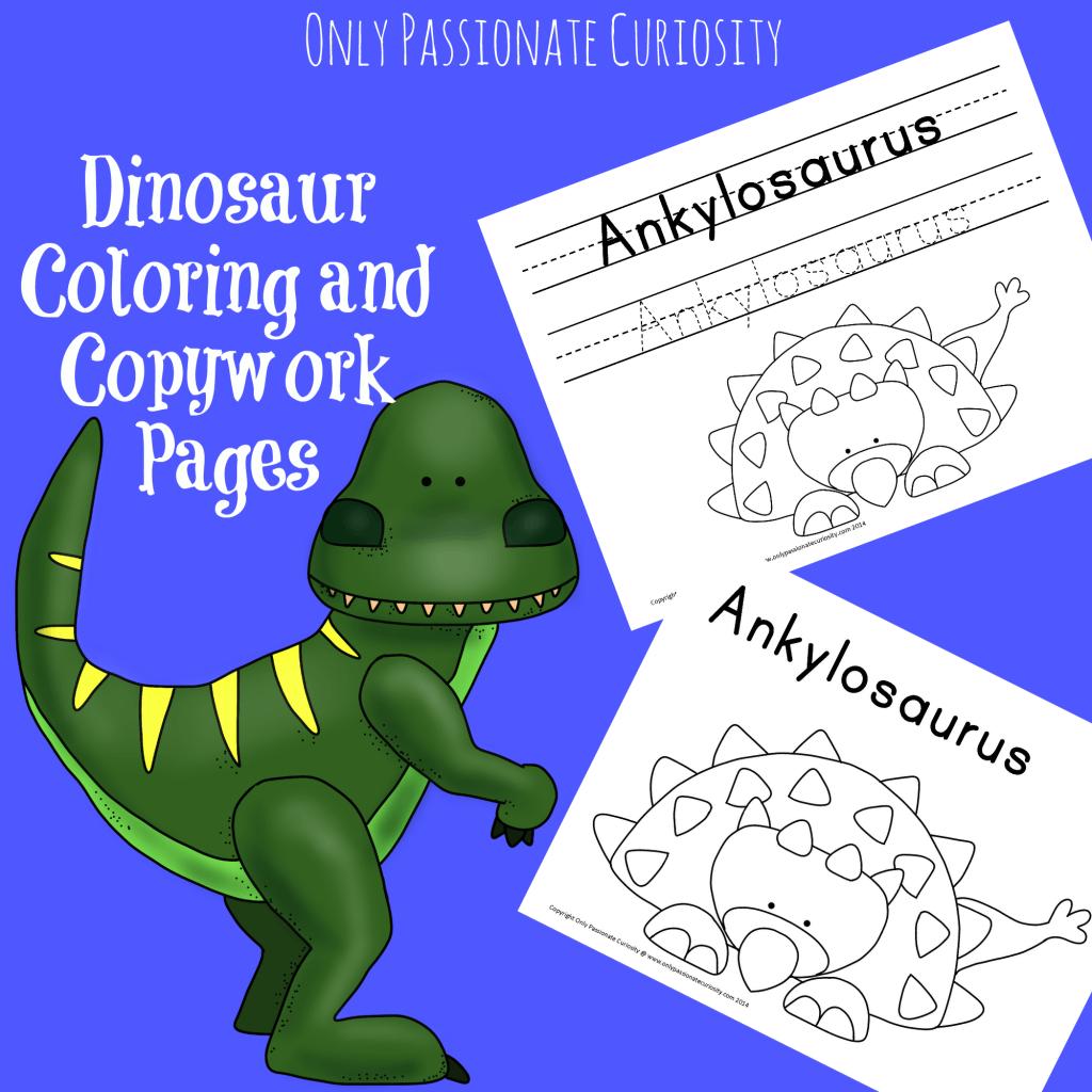 Dino-coloring-and-copywork.png (1024×1024) | dinosaurios | Pinterest