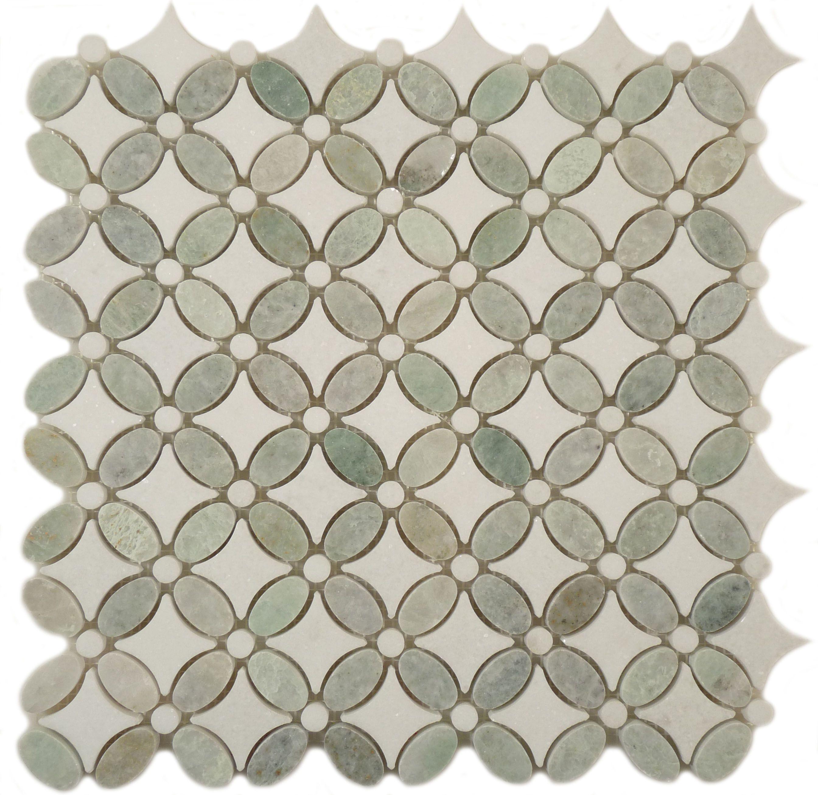Euro glass backsplash flower ming green thassos white ming green thassos white flower green kitchen polished stone modern tile by glass tile oasis dailygadgetfo Choice Image