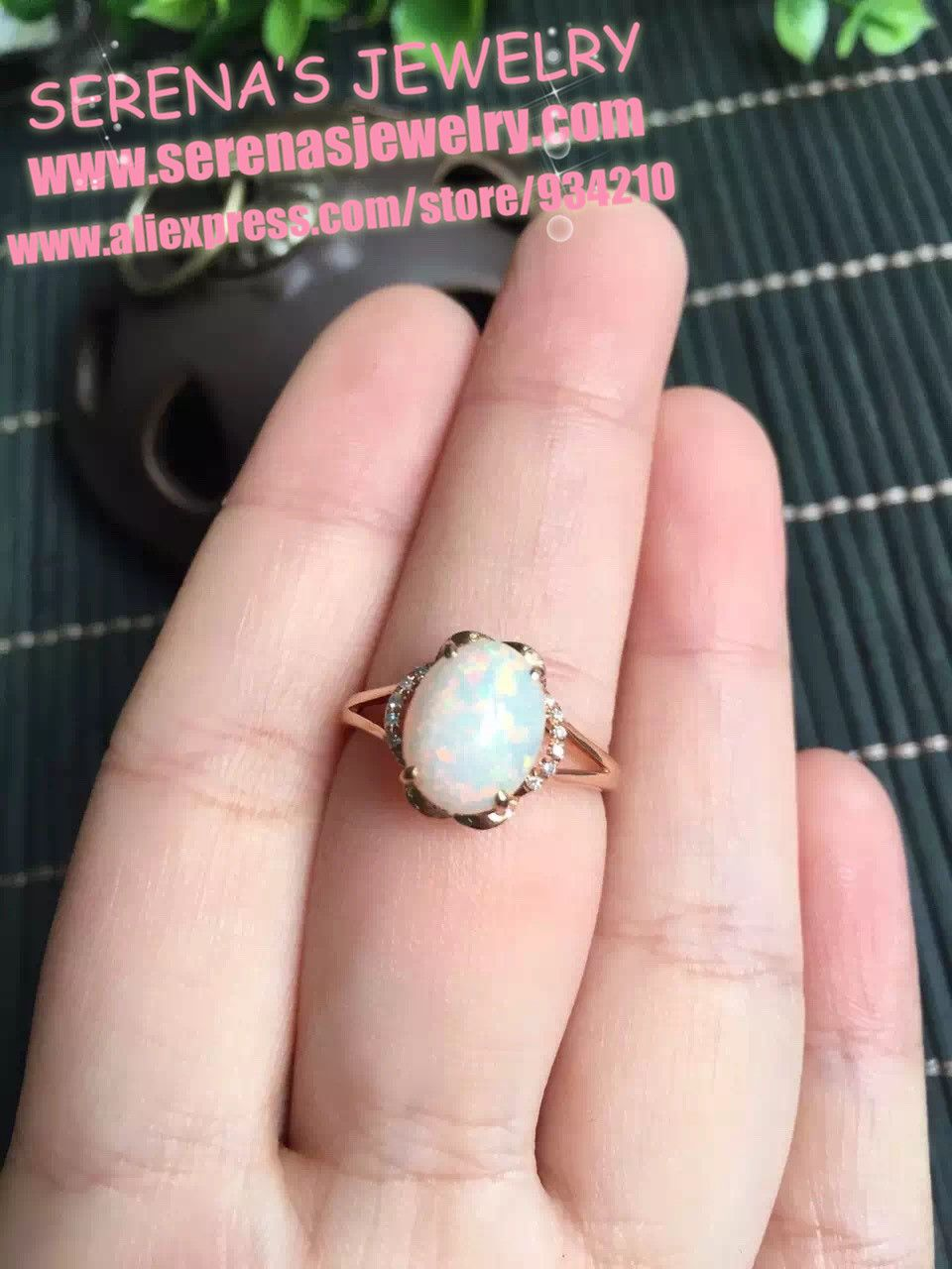 18K ring Gold Top grade 8*10mm ball shape 1.65ct natural opal ring ...