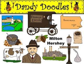 Milton Hershey Clip Art By Dandy Doodles Clip Art Milton Hershey Doodles
