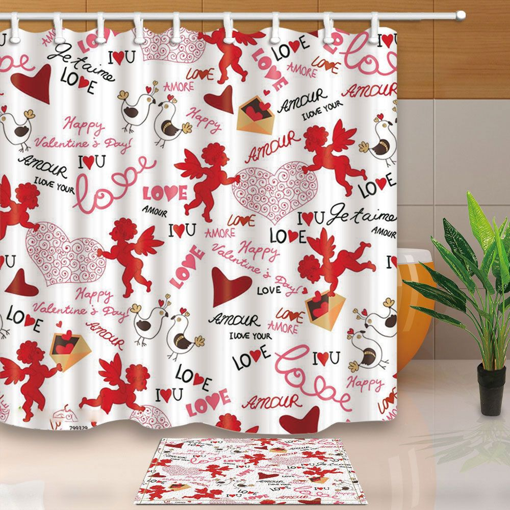 Valentine S Day Cupid And Heart Shower Curtain Polyester Home