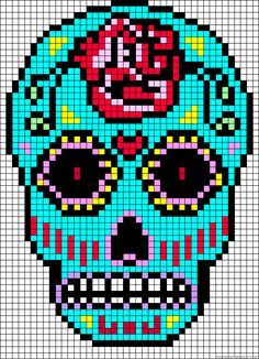 Des Têtes De Mort Infernales à Créer En Perles Hama Pixel