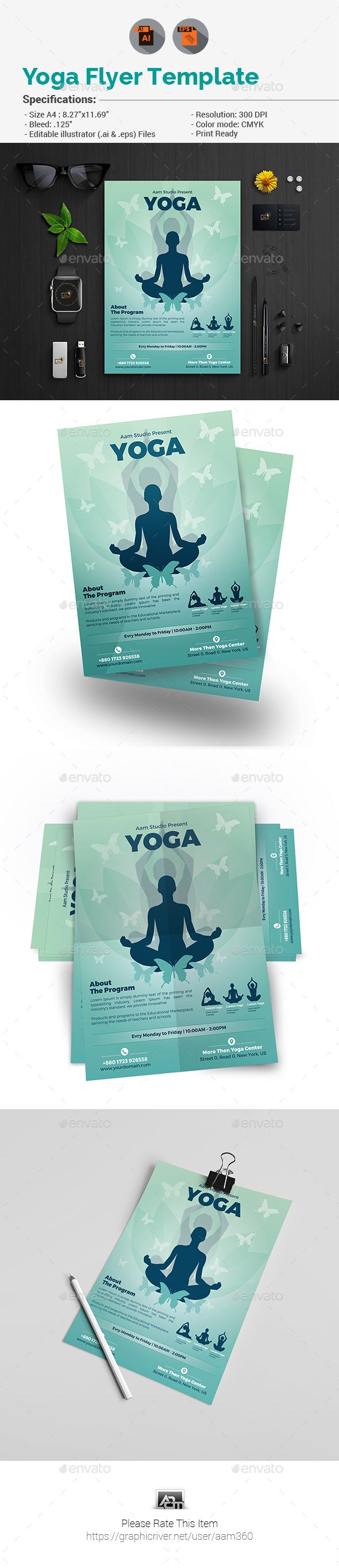 Yoga Flyer Template Vector Eps Ai Illustrator Flyer Templates