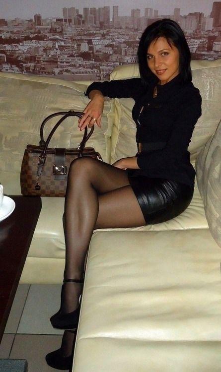 Legs in sheer pantyhose