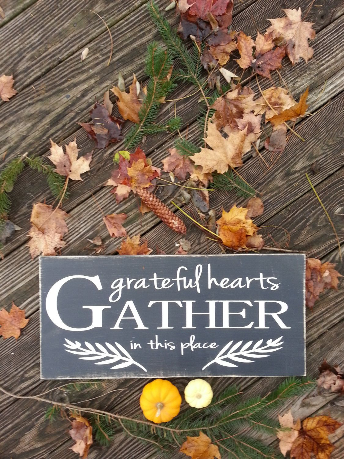 Gather Sign Gather Wood Sign Rustic Wood Sign Grateful Hearts Grateful Heart Dining Room Decor Kitchen Sign Gather Wood Sign Rustic Wood Signs Wood Signs