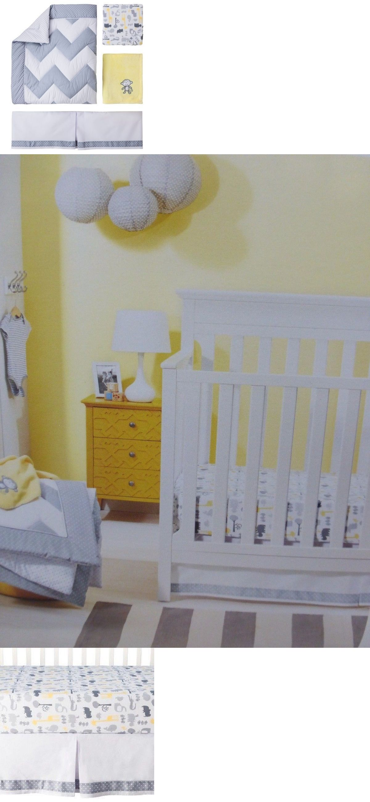 Nursery Bedding 20416 Circo Zigs N Zags 4pc Crib Set Safari Chevron Gray Yellow It Now Only 24 99 On Ebay