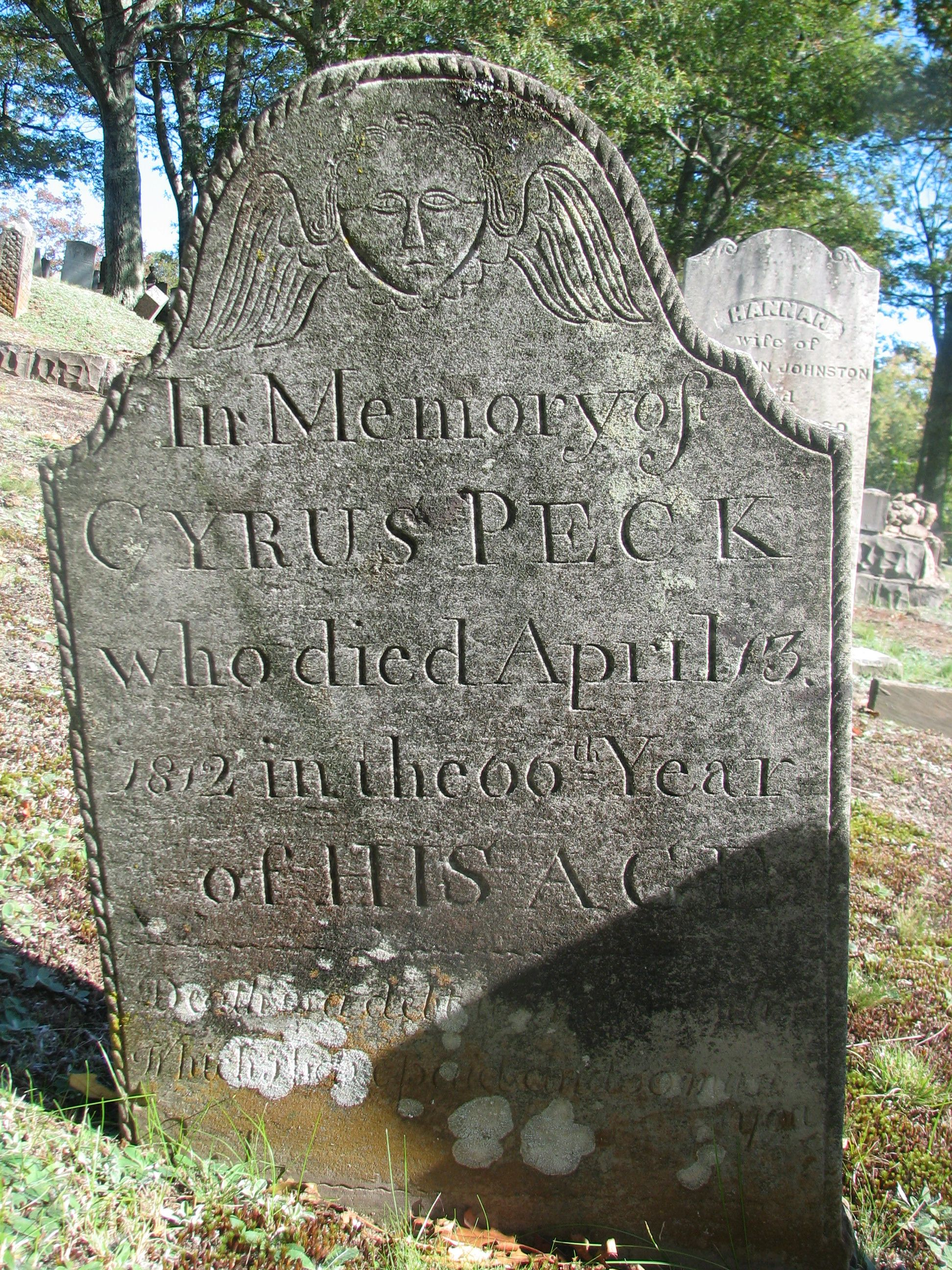 In Memory of CYRUS PECK who died April 13 1812 in the 66th Year of HIS AGE
