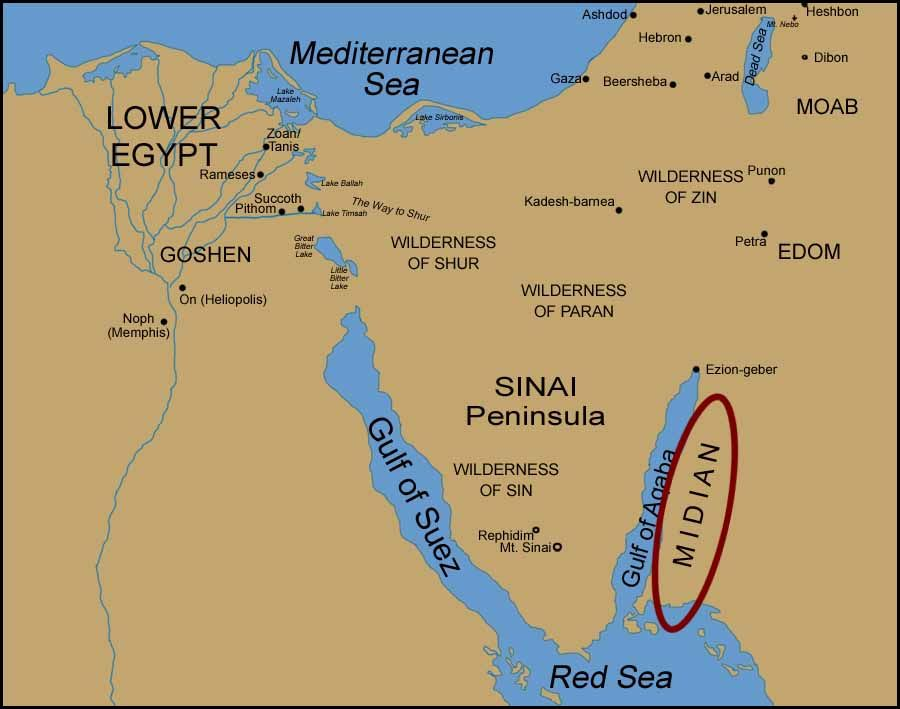 Map Reference For The Location Of Midian In Arabia Archeology - Map of egypt during exodus