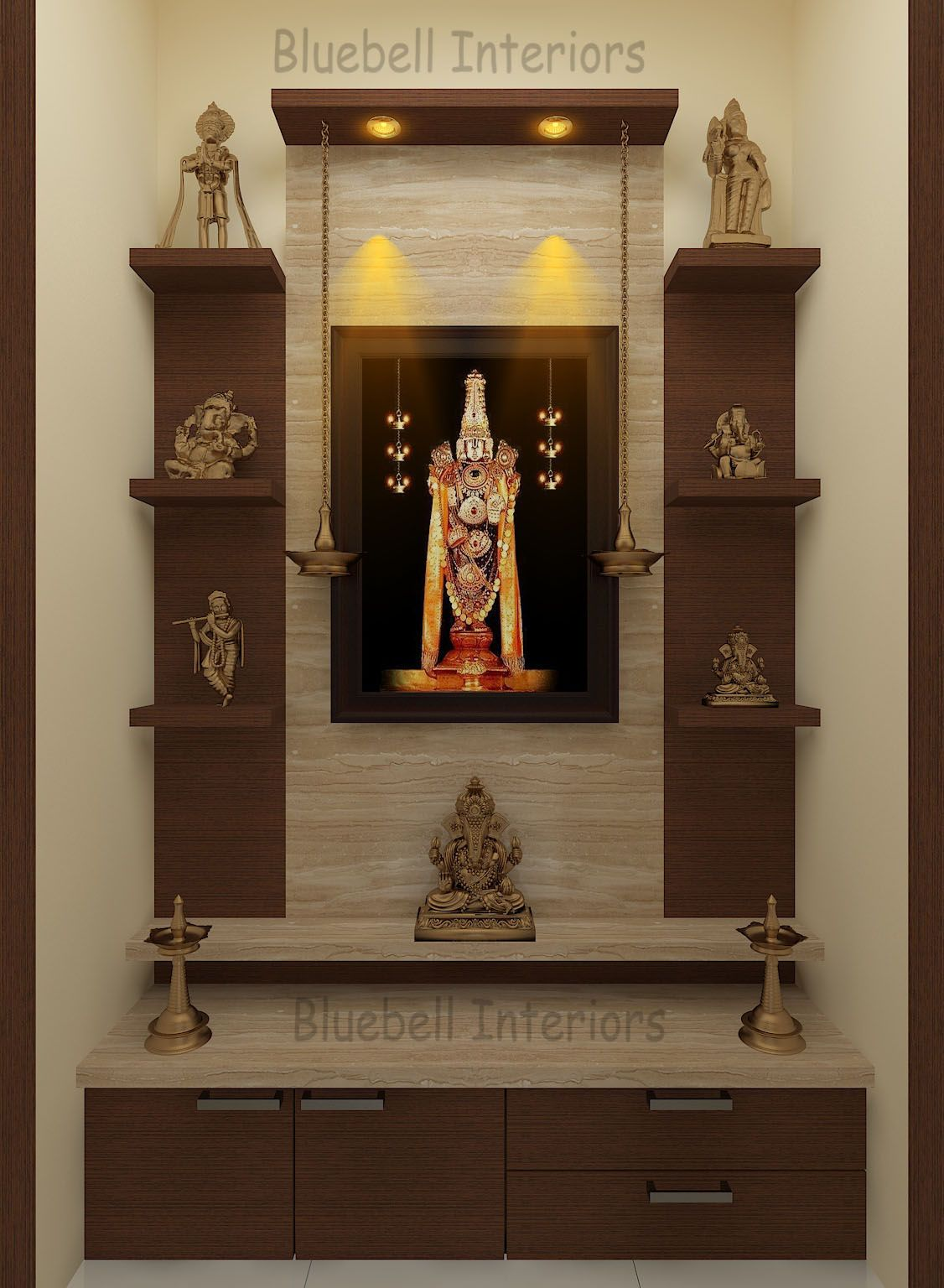 9 Traditional Pooja Room Door Designs In 2020: Two Steps Pooja Unit With Side Shelves, Italian Marble