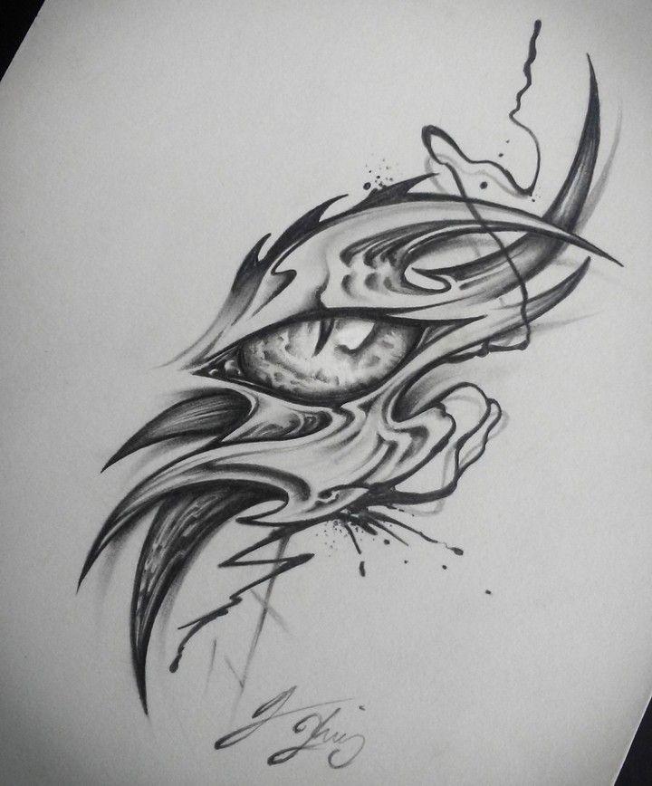 Dragon Eye 2 0 I Added Some More Detail Dragon Dragoneye Tattoo Dragontattoo Dragoneyet Dragon Eye Drawing Dragon Tattoo Drawing Tribal Dragon Tattoos