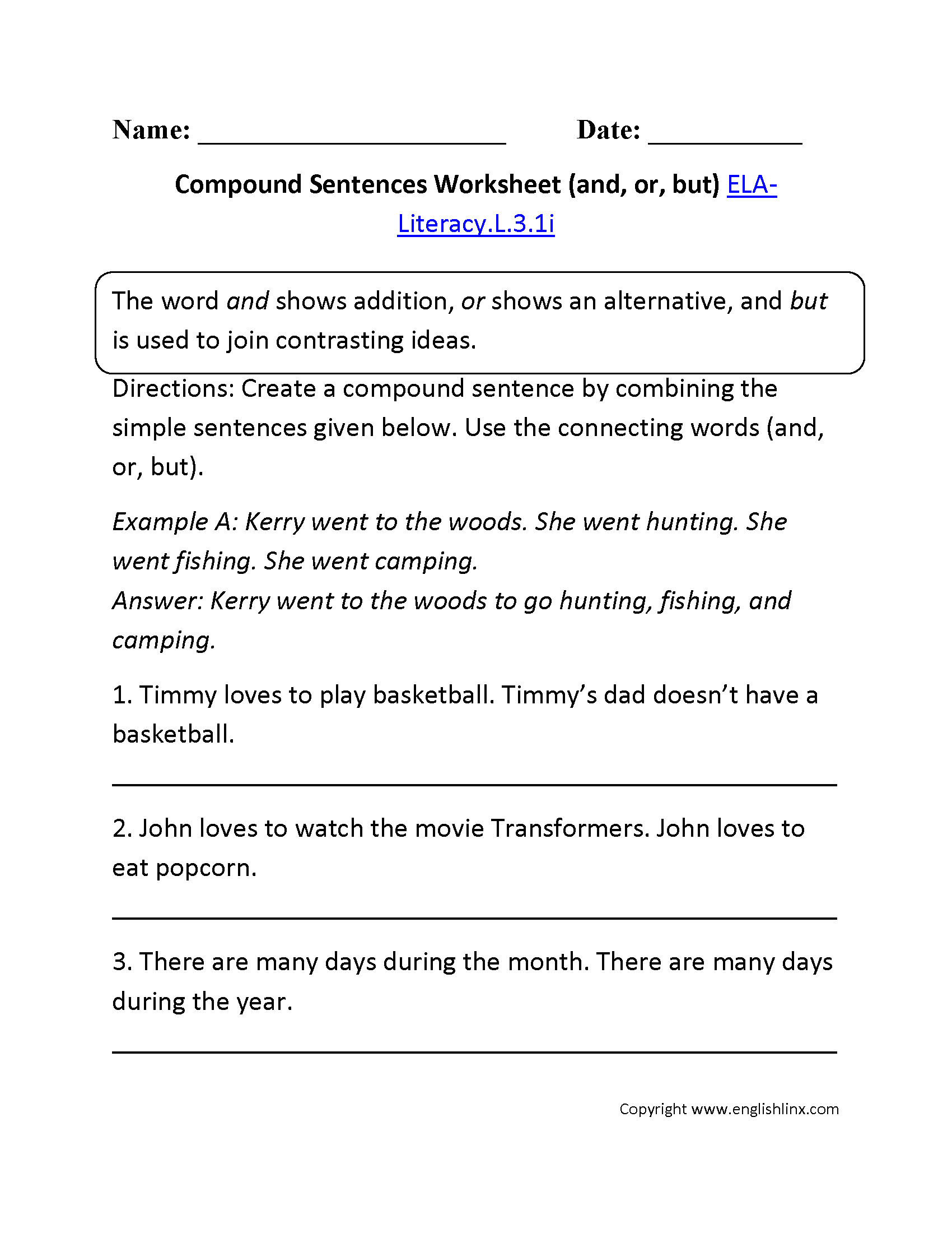 Compound Sentence Worksheet 1 L 3 1