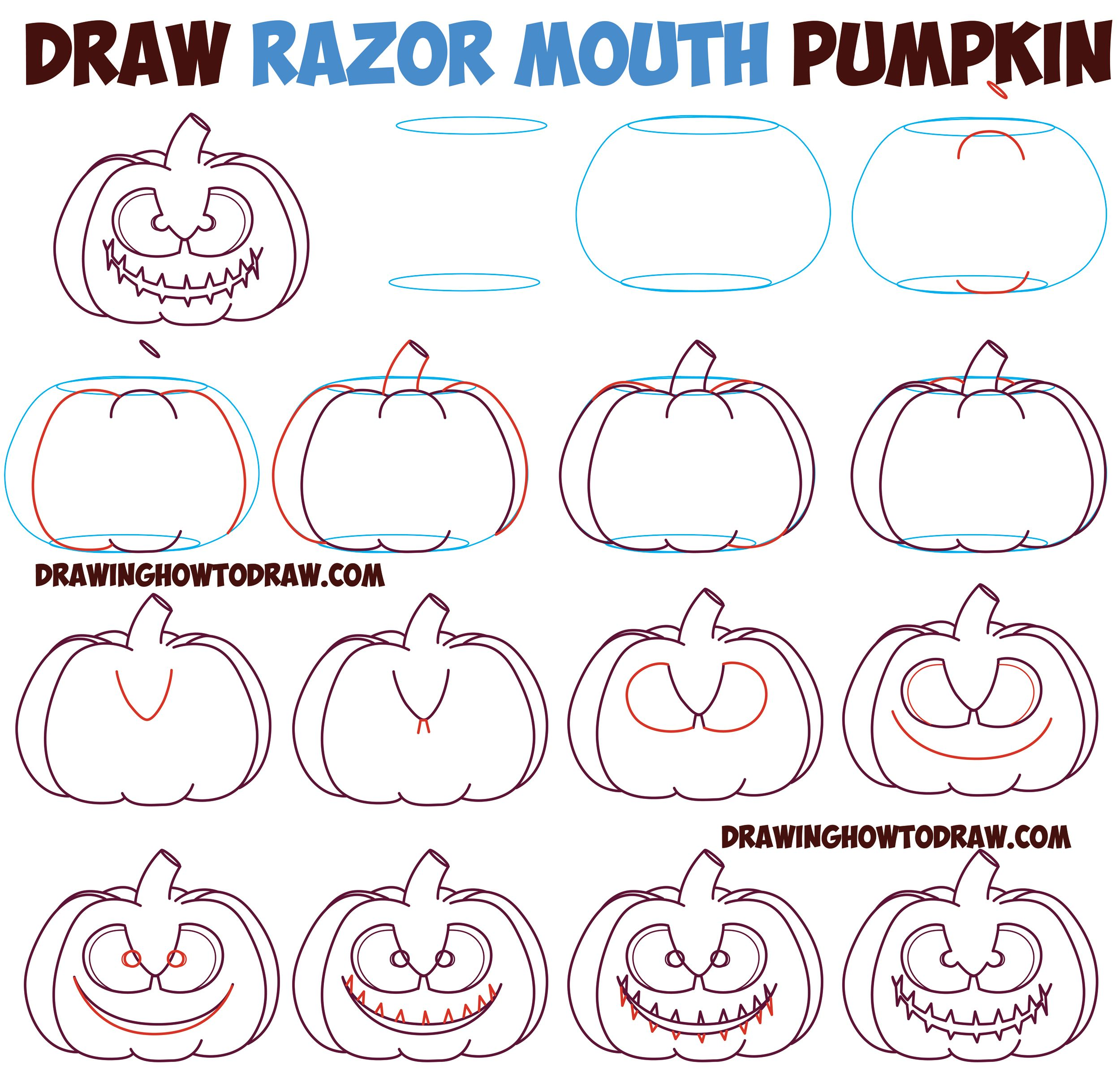 Huge Guide to Drawing Cartoon Pumpkin Faces / Jack O\'Lantern Faces ...