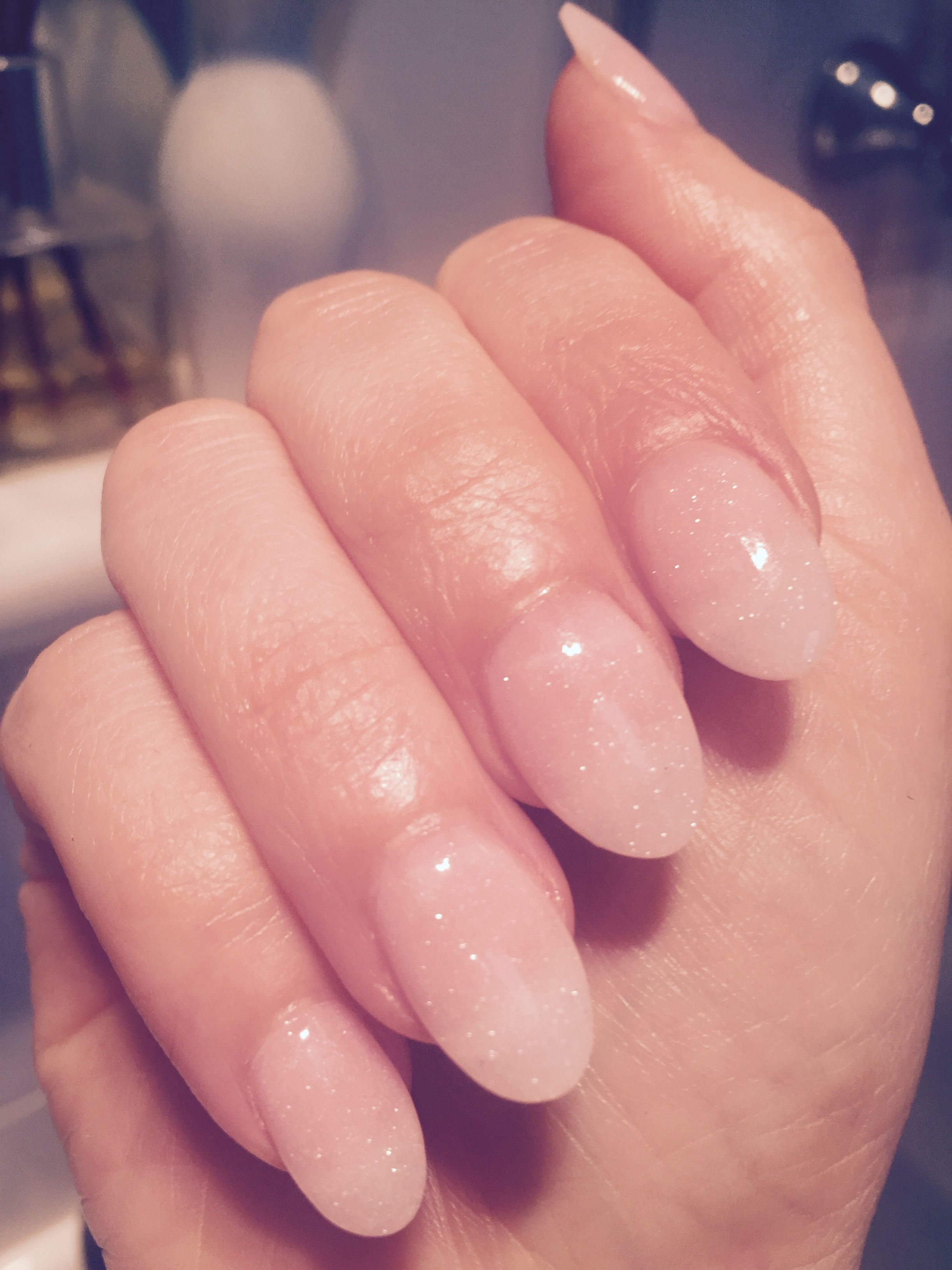 SNS nails, oval, natural, glitter, nude, almond | Beauty | Pinterest ...
