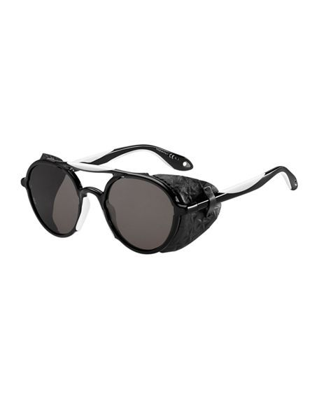 75bd30e207 GIVENCHY Round Acetate   Rubber Sunglasses W Star Leather Blinkers.   givenchy