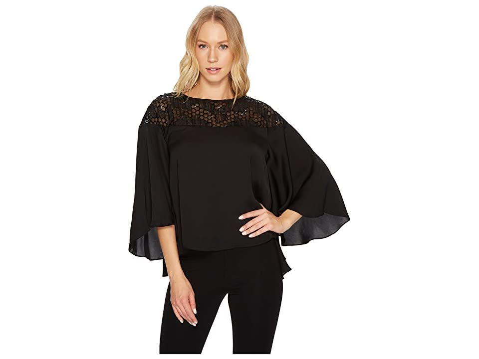 CATHERINE Catherine Malandrino 3/4 Flared Sleeve Scoop Neck Top w/ Lace Yoke (Black Beauty) Women's Long Sleeve Pullover. The only drama you need is this CATHERINE Catherine Malandrino top. Draped top boasts a lace yoke. Oversized silhouette. Billowing three-quarter sleeves. Keyhole with button closure at nape. Straight hemline. 100% polyester. Hand wash and dry flat. Imported. Measurements: Length: 24 in Product measurements  #CATHERINECatherineMalandrino #Apparel #Top #LongSleevePullover #Blac