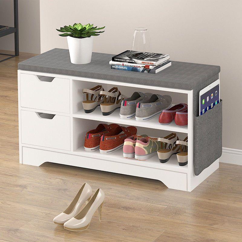 Shoe Storage Bench Organizer Cabinet Foot Stool Amp 2 Drawers Padded Seat Shelves Tumba Dlya Obuvi V Prihozhej Mebel V Prihozhej Polka Dlya Obuvi