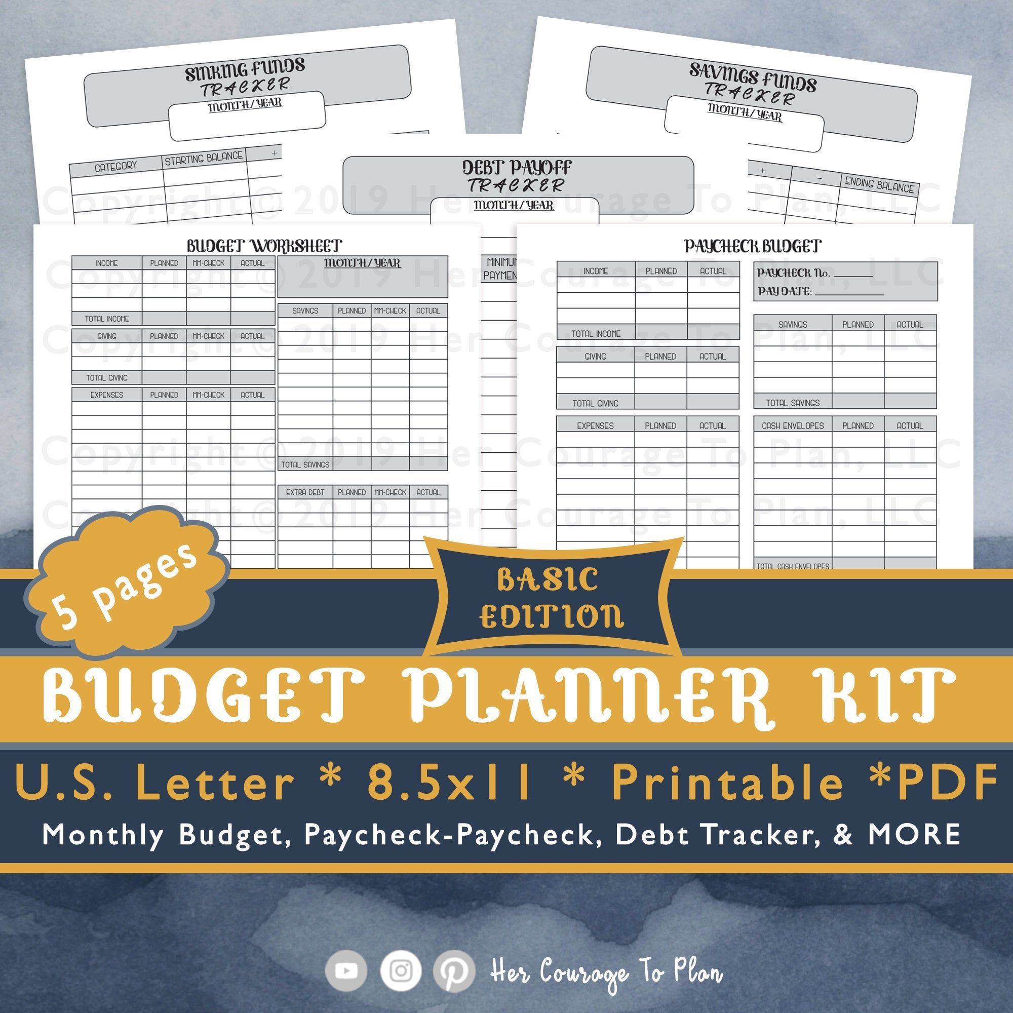 Budget Worksheets Kit Stickers Basic Neutral 5 Pages