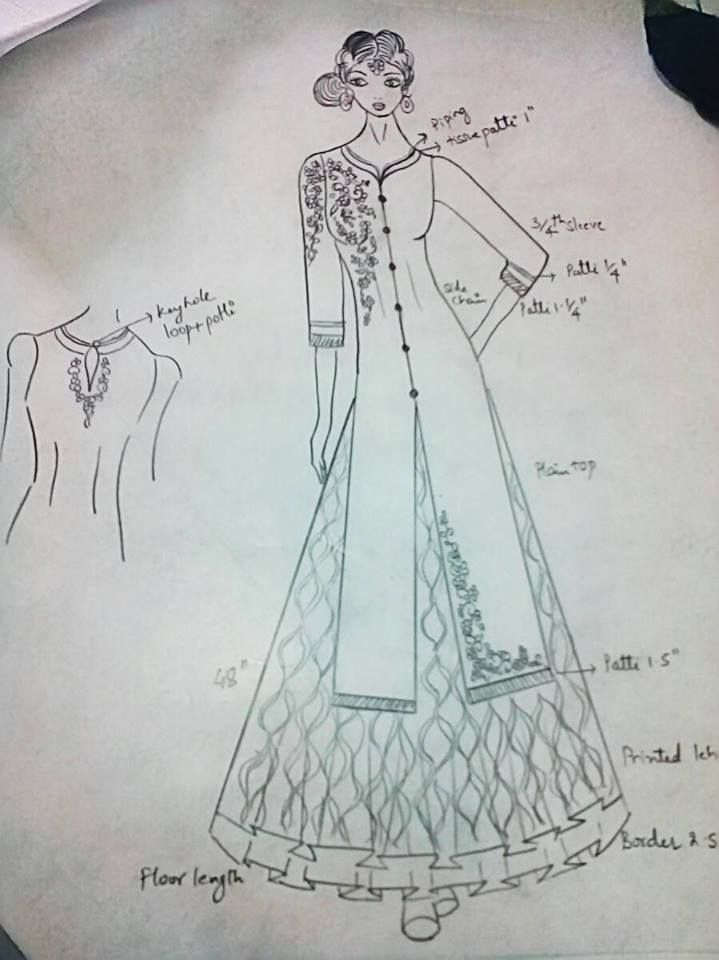 Indianwear Ethnicwear Mumbai Indiandesigner Kurta Kurti Anarkali Lehenga Dress Design Drawing Fashion Design Sketches Design Sketch