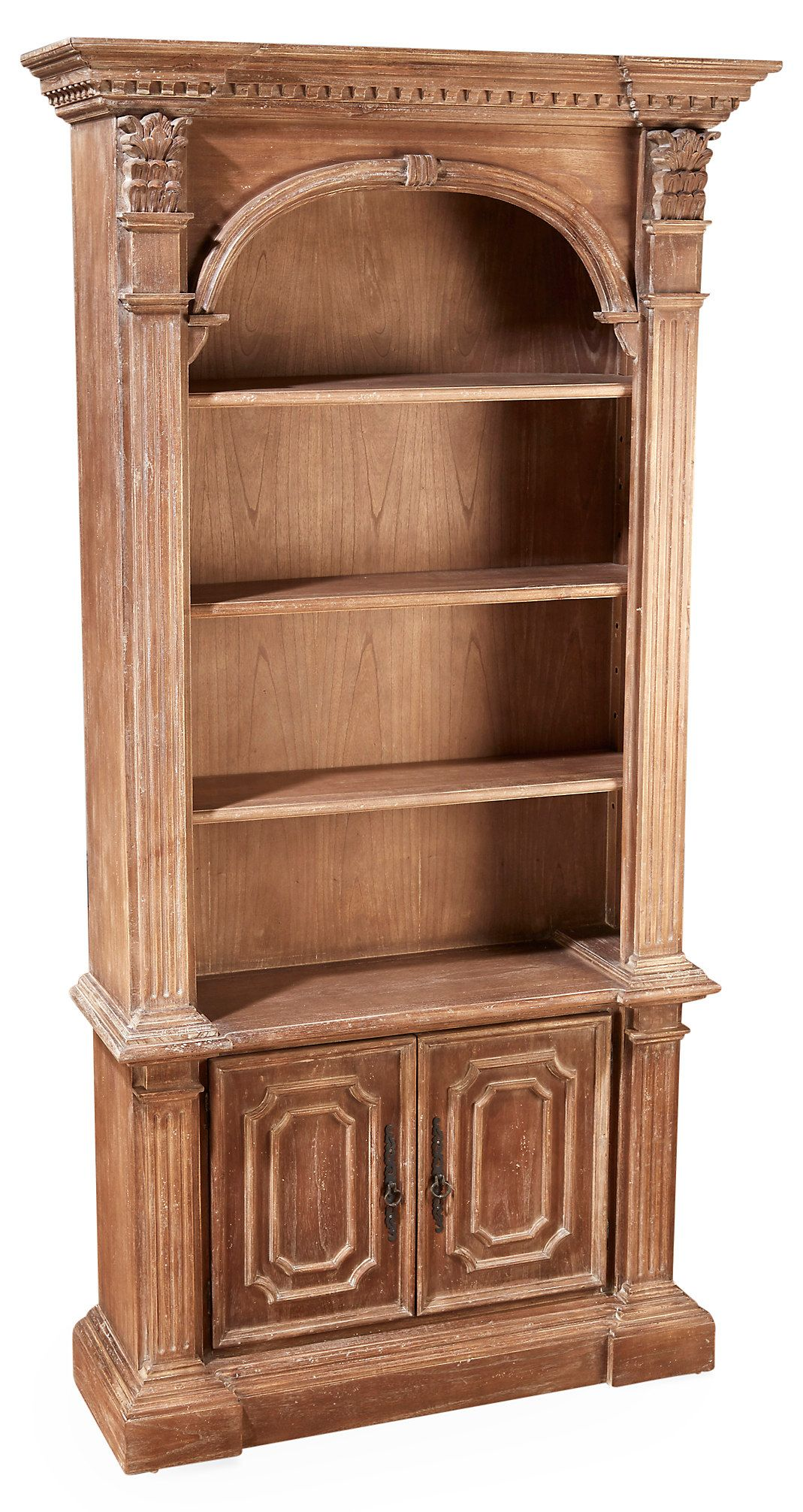 A Natural Stain And Weathered Finish Lends This Masterfully Carved Mindi Wood Bookcase The Look Of A Prized Estate Bookcase Wood Bookcase Wood Furniture Design