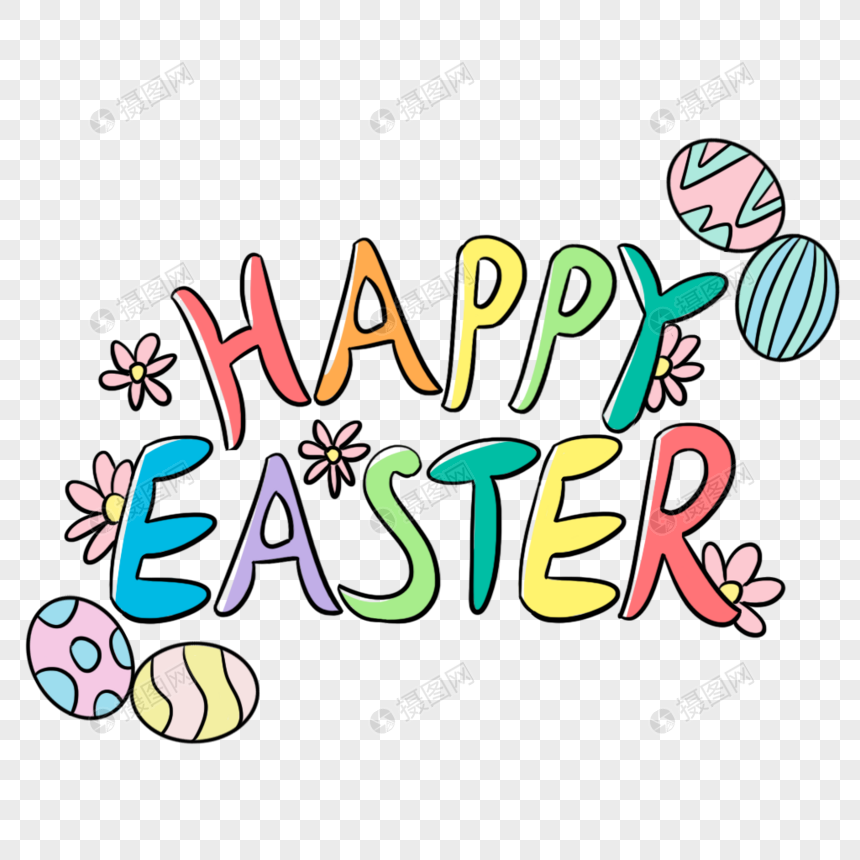 Color Happy Easter Easter Easter Cartoon Font Easter Eggs English Fonts Yellow Flowers Easter Fonts April 16 Cartoon Font Template Design Easter Cartoons