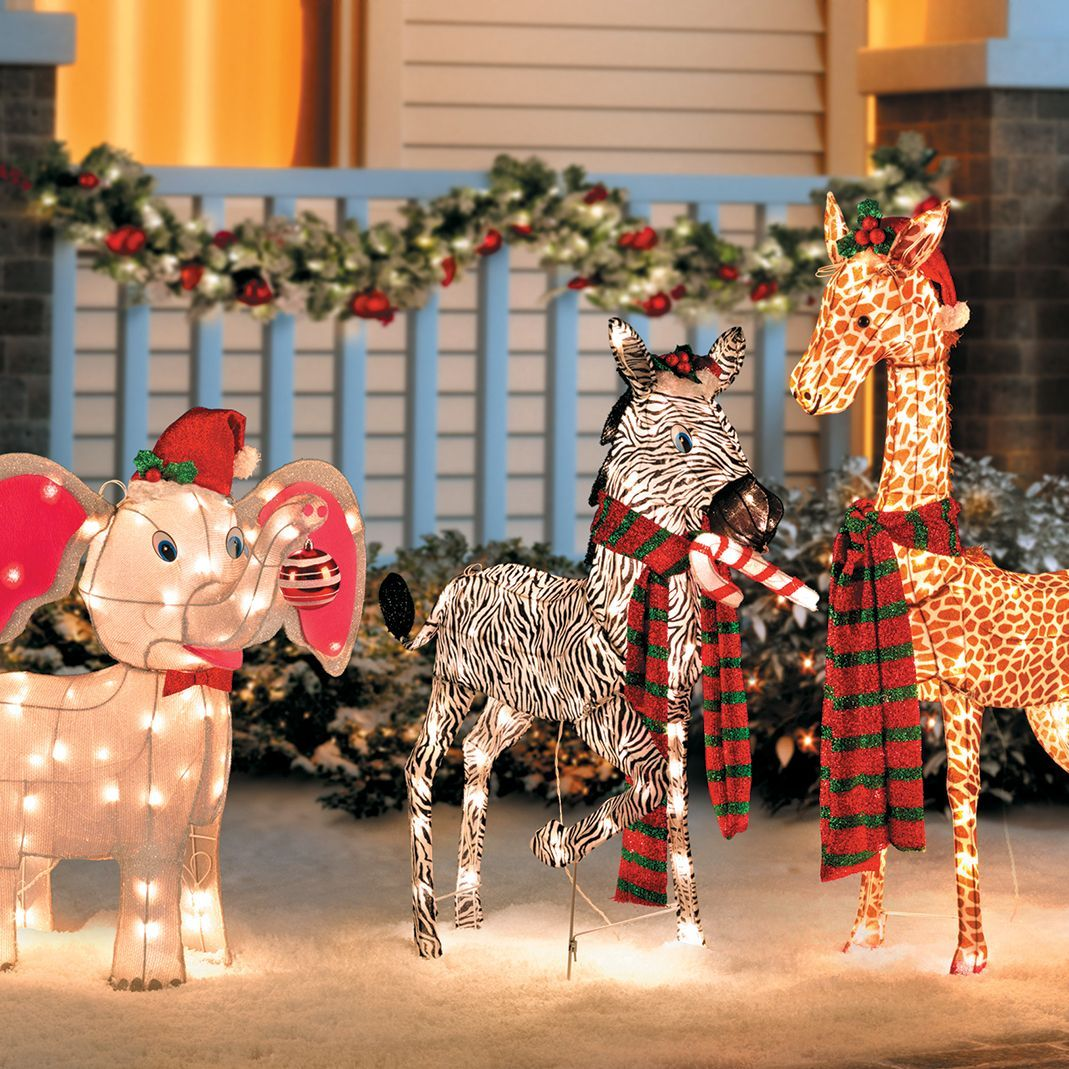 These Outdoor Christmas Decorations Are Totally Cute And A Little Bit Wild Baby Elephant Outdoor Christmas Decorations Outdoor Christmas Christmas Decor Diy