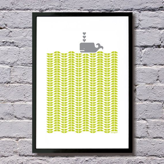 Whale+print+A3+chartreuse+by+mengseldesign+on+Etsy,+$40.00