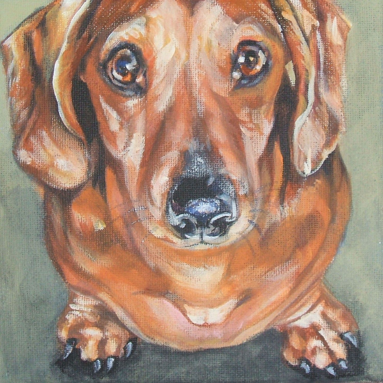 Red Dachshund Portrait Dog Art Canvas Print Of La Shepard Etsy Dachshund Painting Dog Paintings Dog Art