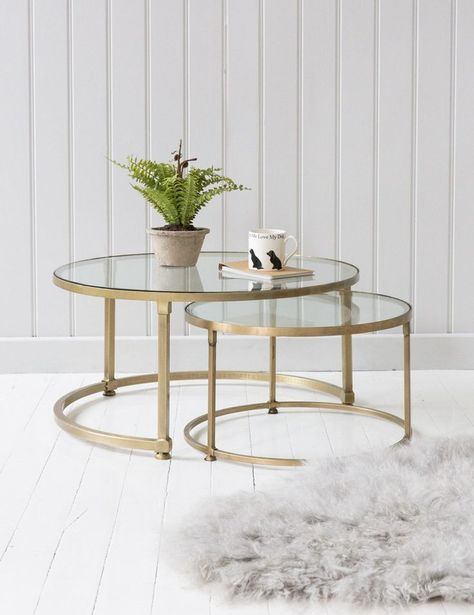 Coffee Table Stacking Round Glass Coffee Table Set Brass And
