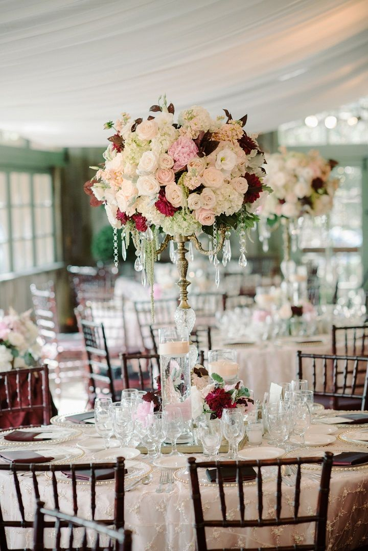 Blush and burgundy wedding reception decorations the