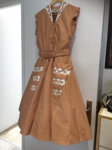 Vintage genuine 1950's #peach pink cream #brocade rockabilly #swing dress 14 repa,  View more on the LINK: http://www.zeppy.io/product/gb/2/131915664661/