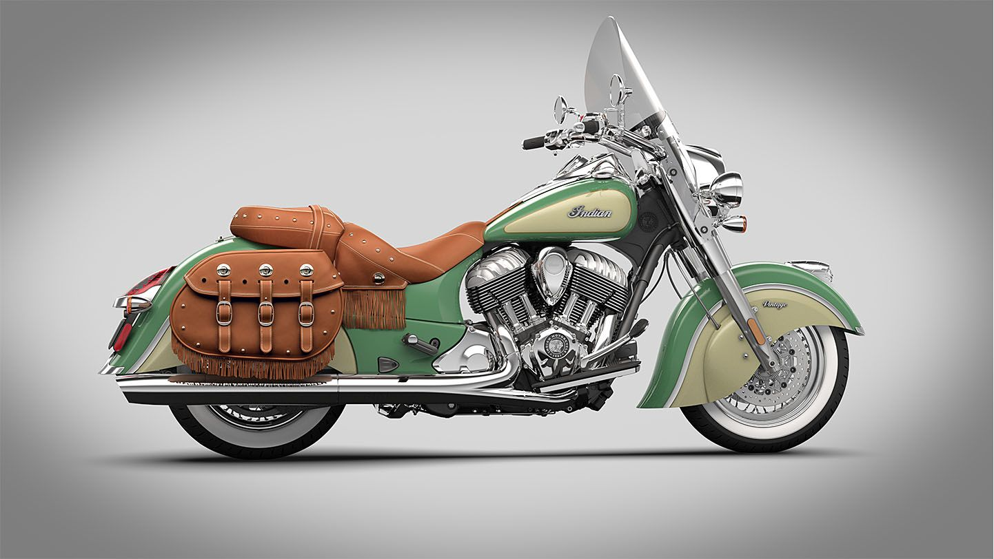 Cream And Chrome Motorcycle 2015 Indian Chief Vintage Willow Green Ivory Cream Indian Motorcycle Classic Motorcycles Motorcycle