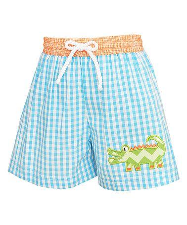 Turquoise Check Alligator Swim Shorts - Infant, Toddler & Boys #zulily #zulilyfinds