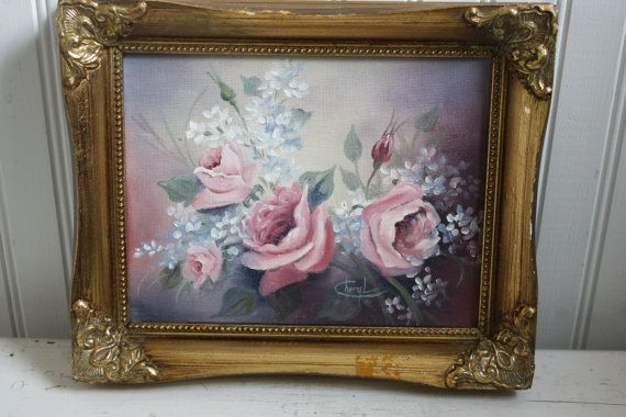 Framed Acrylic Pastel Roses Painting Roses Framed by TheScoutGirls