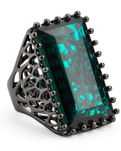 emerald / hematite cocktail ring