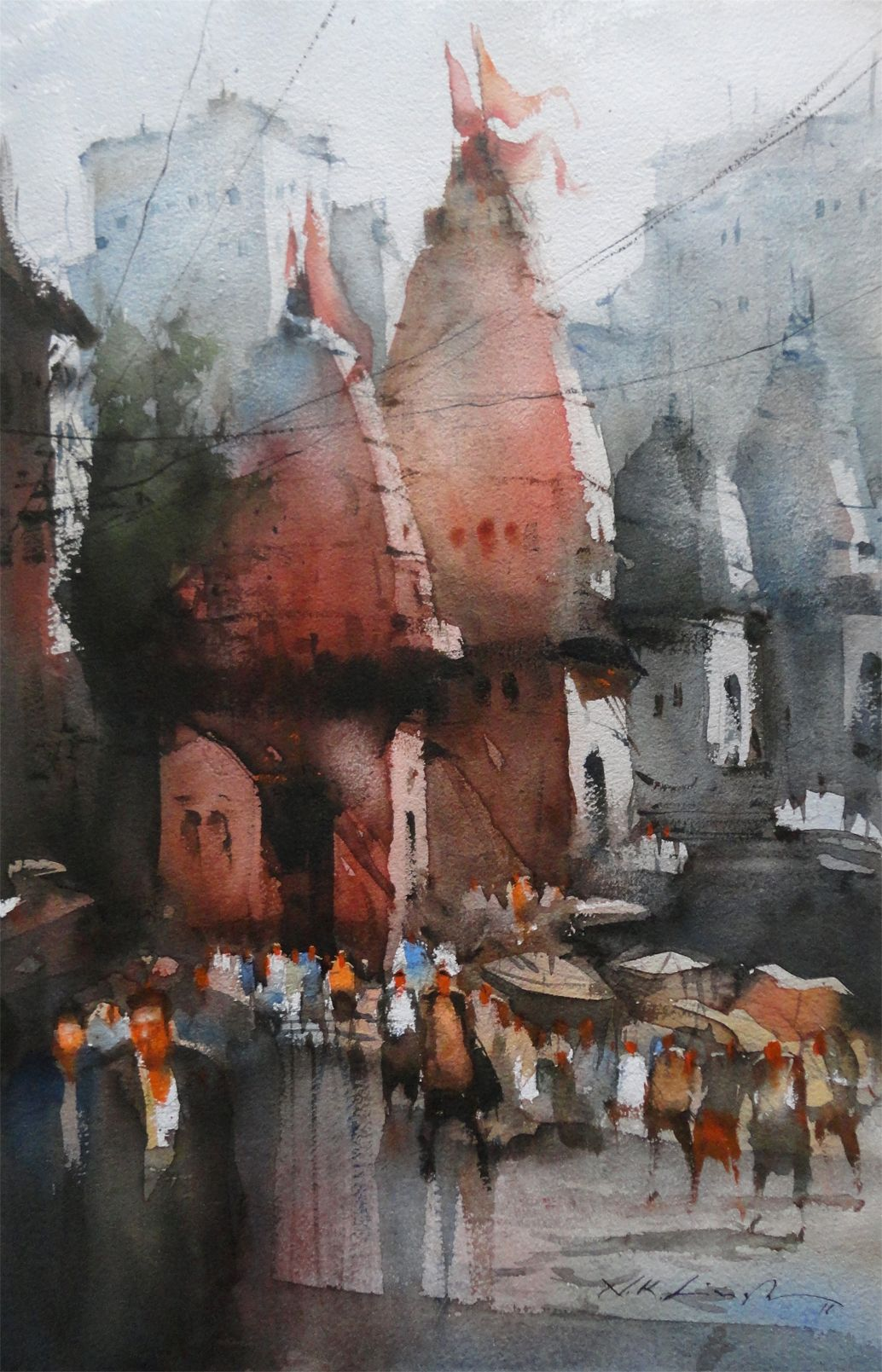 Indian Temple Watercolor Painting With Images Watercolor