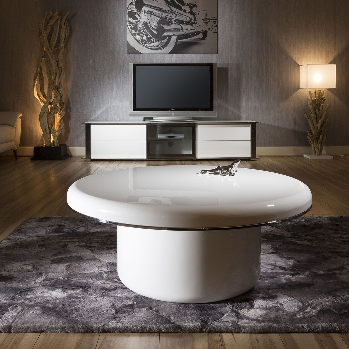 - Superb Extra Large Modern Round White Gloss 1mt Dia Coffee Table