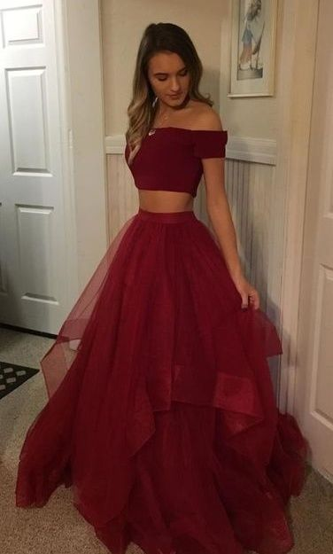 Two Pieces Simple Burgundy Long Prom Dresses For Teens,Off The Shoulder Party Dresses from 21weddingdresses - Strapless prom dresses, Prom dresses two piece, Burgundy prom dress, Dresses for teens, Tulle prom dress, Prom dresses for teens -  Dear,friend,welcome to our store We are a professional wedding apparel manufacturer for several years  All items in my store are all 100% handmade,please feel free to contact us if you have any custom requests  Description 1 Color   Please choose your lovely color on our color chart, which