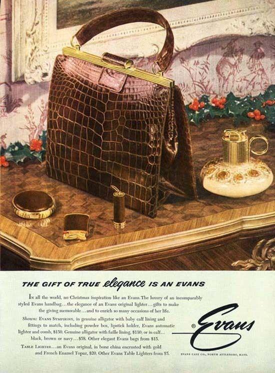 EVANS Handbag Ad - 1953 - Alligator Purse, Compact, Cigarette & Lighter PAPER AD